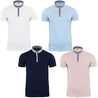 Brave Soul Mens Chimera Oxford Short Sleeve Cotton Polo Shirt Tee Top