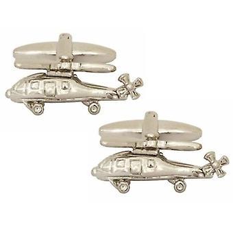 Boutons de manchettes Zennor hélicoptère - Silver
