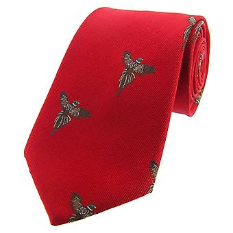 David Van Hagen battenti fagiani tessuto cravatta di seta di paese - rosso