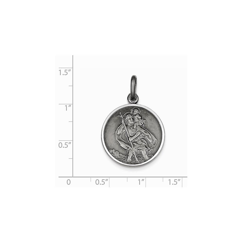 925 Sterling Silver Solid Satin Polished Engravable finish St. Christopher Medal Charm Pendant Necklace Jewelry Gifts fo