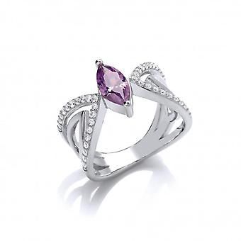 Cavendish French Ornate Silver and Amethyst CZ Butterfly Ring