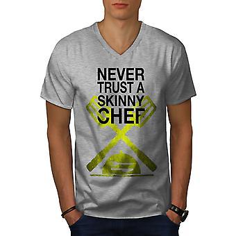 Skinny Chef Men GreyV-Neck T-shirt | Wellcoda