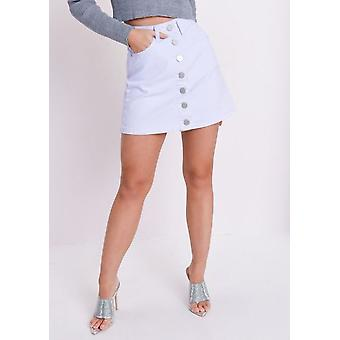 Knop omhoog Mini Denim rok lichtblauw