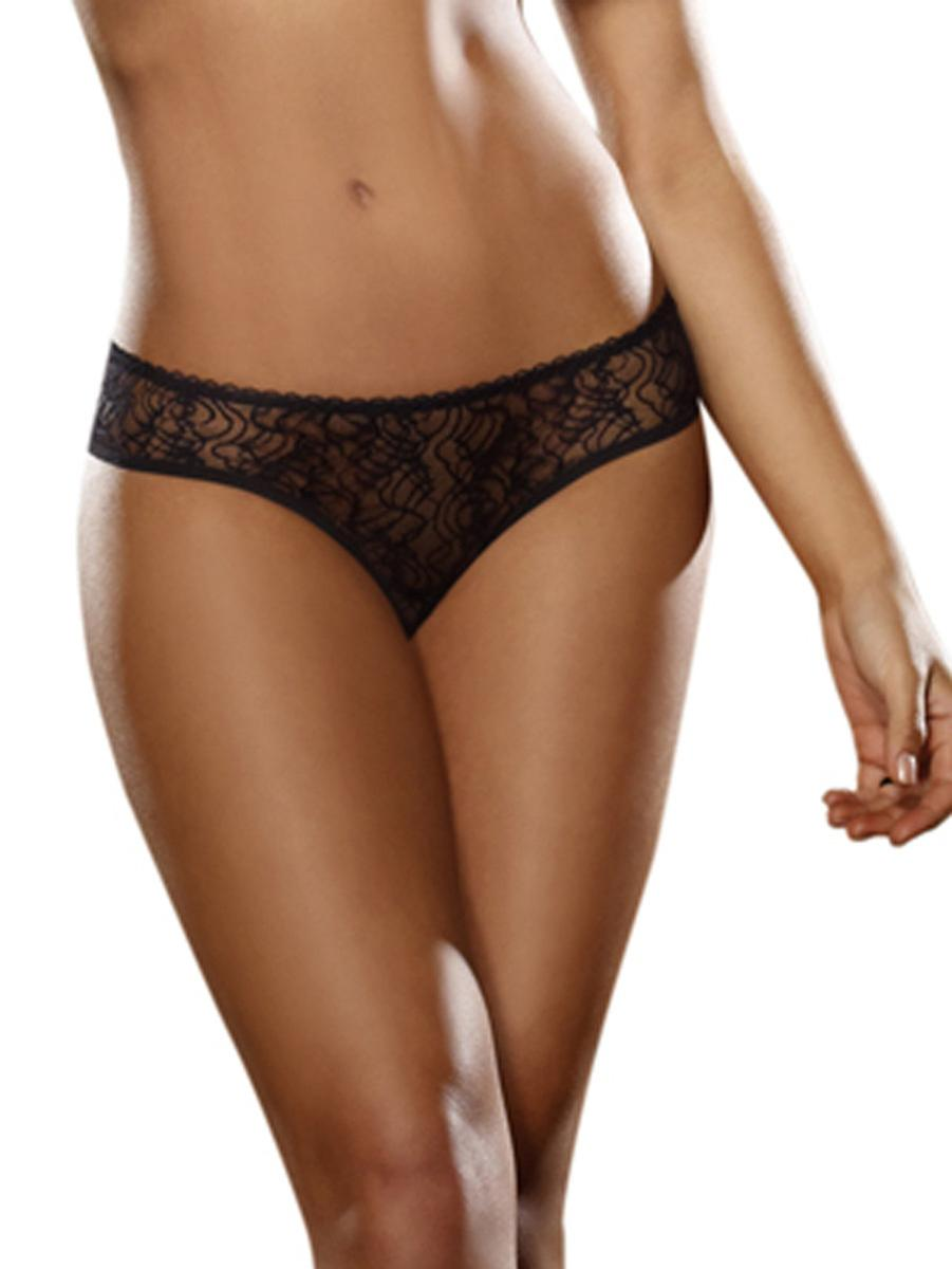 Dreamgirl Women's Sexy Low Rise Shorts in Black Stretch Lace Open Crotch
