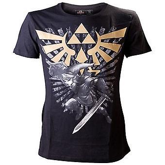 NINTENDO LEGEND OF ZELDA Mens Gold Link Logo kleine T-Shirt, schwarz (TS221100NTN-S)