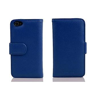 Cadorabo Funda para Apple iPhone 4 / iPhone 4S en KINGS BLUE - Caja de teléfono de cuero sintético estructurado con función de soporte y bandeja de la tarjeta - Funda de la funda caso caso de la caja del libro plegable estilo plegable