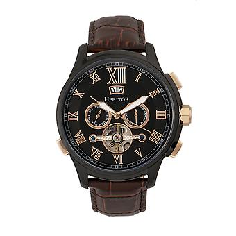 Heritor Automatic Hudson Semi-Skeleton Leather-Band Watch w/Day/Date - Brown/Black