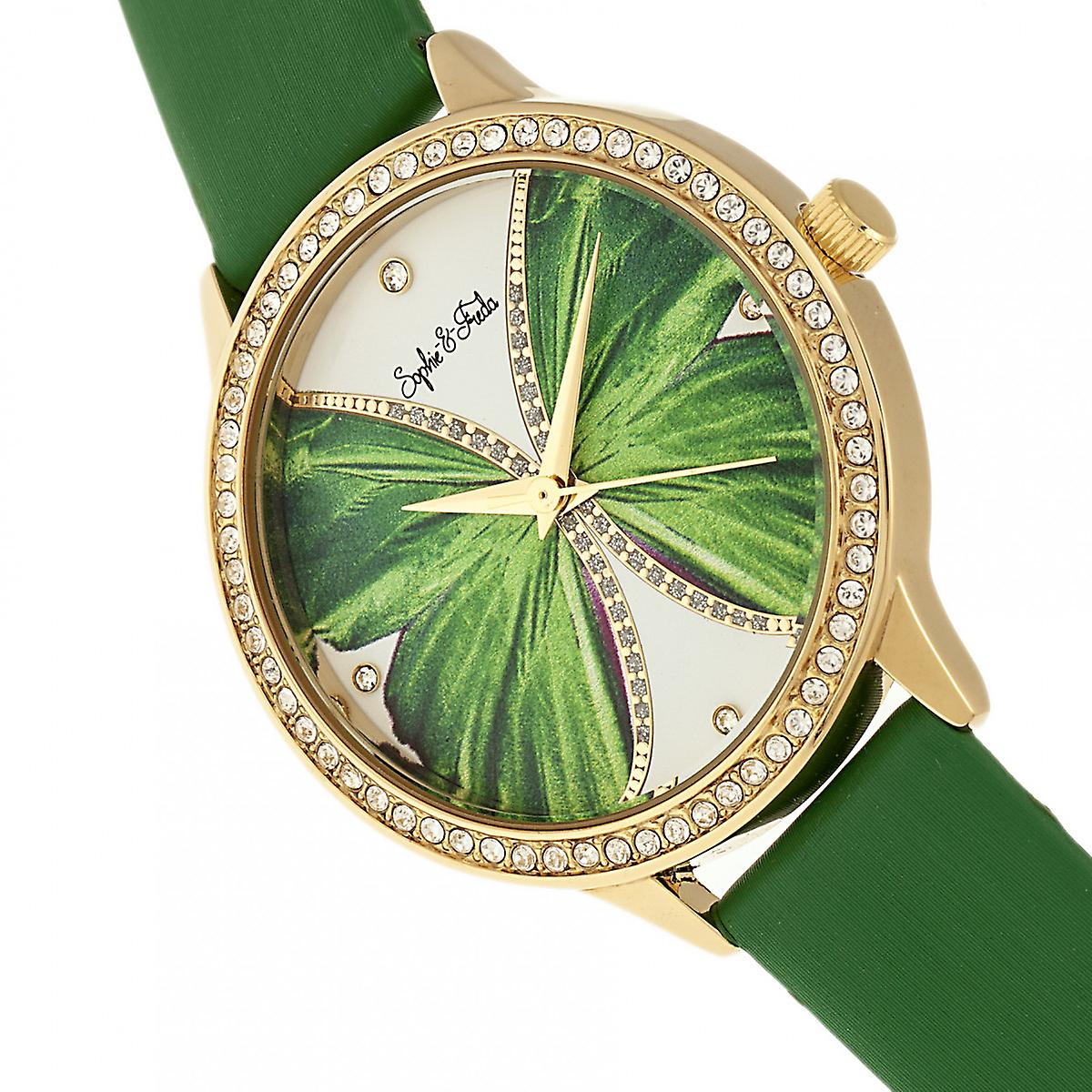Sophie & Freda Rio Grande Leather-Band w/Swarovski Crystals - Gold/Green