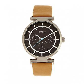 Simplify The 4800 Leather-Band Watch w/Day/Date - Khaki/Black