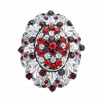 Silber-Casting dekoriert Siam rote Kristalle Vintage Dress Brosche