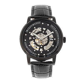 Reign Belfour Automatic Skeleton Leather-Band Watch - Black