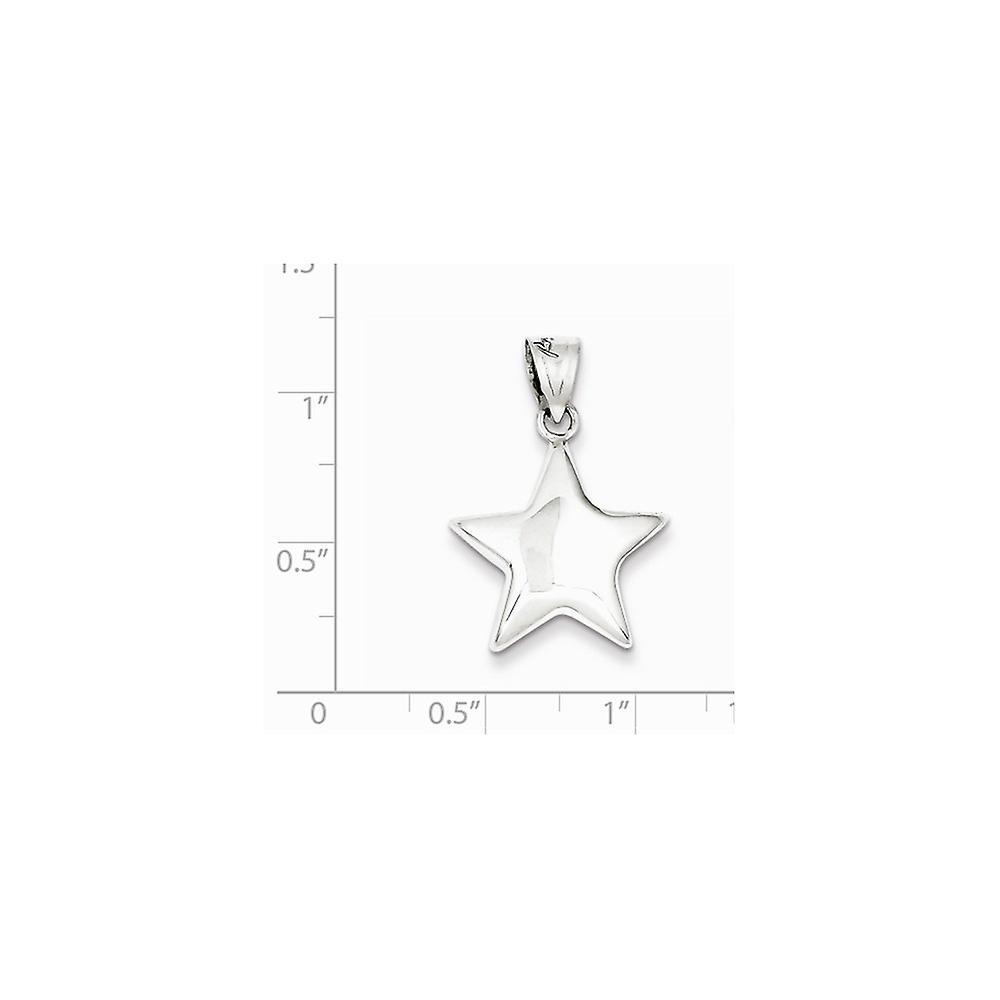 925 Sterling Silber hohl poliert Stern Anhänger Anhänger Halskette Schmuck Geschenke für Frauen - 2,5 Gramm