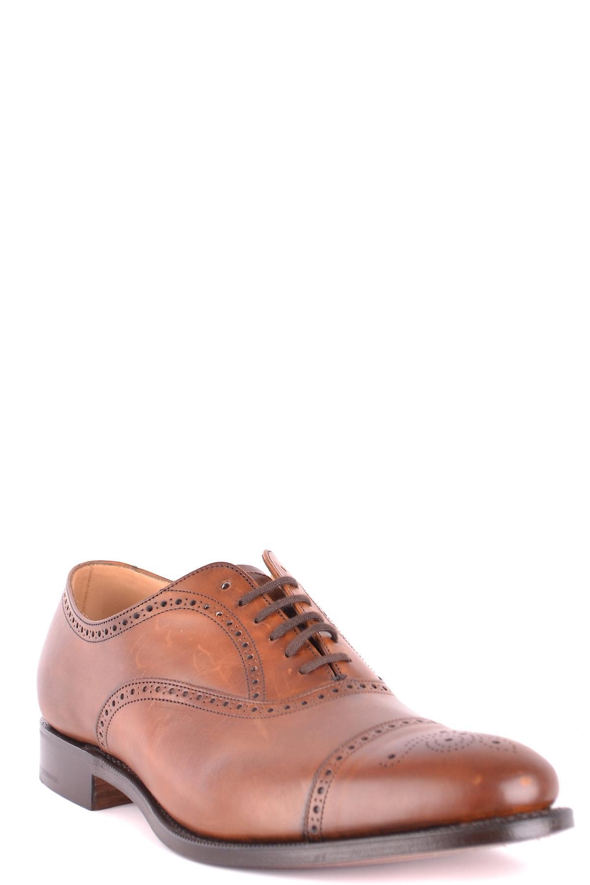 Chaussures à lacets en cuir brun