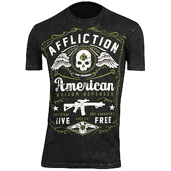 Affliction Mens American Defender T-Shirt - Black Lava Wash