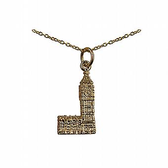 9ct Gold 20x11mm Big Ben Pendant with a cable Chain 20 inches