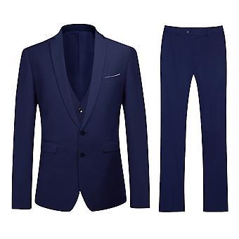 Allthemen Men ' s élénk Navy Slim Fit Classic 3 részes suit