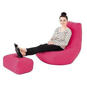 Pink Faux Leather Gaming Highback Bean Bag Lounger Chair with Footstool