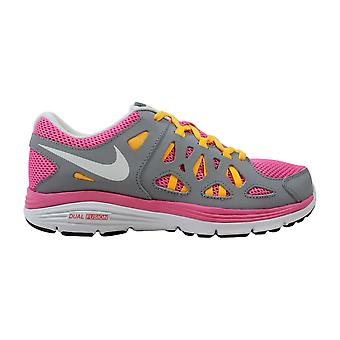 Nike Dual F usion Run II 2 GS Pink Glow/White-Wolf Grey-Atomic MNG 599793-602 Grade-School