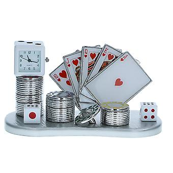 JD Miniature Collectors Gift Clock Of Dice, Playing Cards, & Chips Freestanding