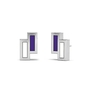 Northwestern University Sterling Silver Asymmetric Enamel Stud Earrings In Purple and White