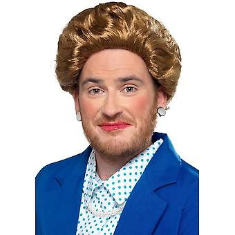 Iron Lady Margaret Thatcher Wig, Brown, Fancy Dress, One Size