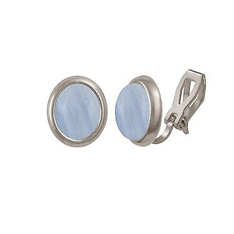 Eternal Collection Minuet Blue Lace Agate Gemstone Silver Clip On Earrings