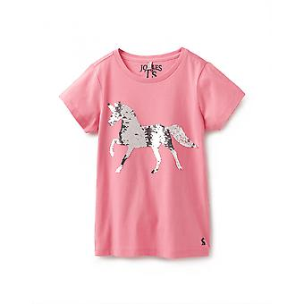 Joules Junior Astra Applique Tee - Pink Sequin Horse