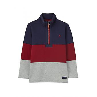 Joules Junior Dale Boys Cut And Sew Overhead Sweatshirt - Navy Red Grey