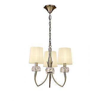 Mantra Loewe Pendant 3 Light E14, Antique Brass With Cream Shades