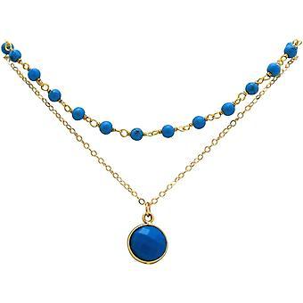 Colar gargantilha gemshine com pedras azul-turquesa em prata 925 ou banhado a ouro