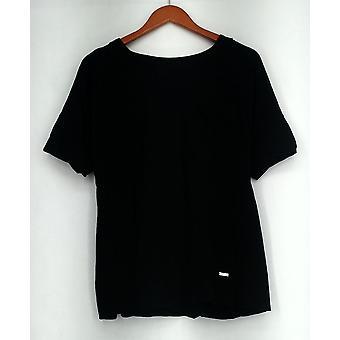 Isaac Mizrahi Live! T-skjorte topp SOHO dobbel mansjett svart A276927