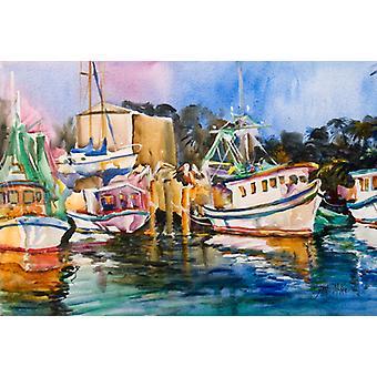 Carolines Treasures  JMK1079PLMT Shrimp Boat Warehouse Fabric Placemat