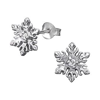 Snowflake - 925 Sterling Silver Cubic Zirconia Ear Studs - W9794X