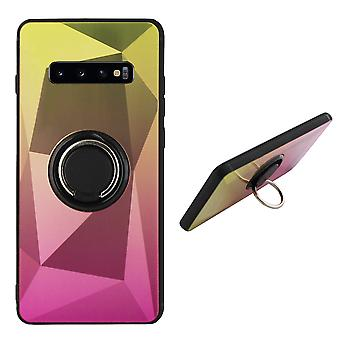Back Cover Ring/magnet Aurora Samsung S10E gold + Pink