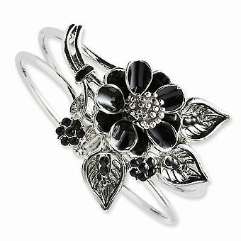 Silver tone Black Enamel Floral Bracelet Jewelry Gifts for Women