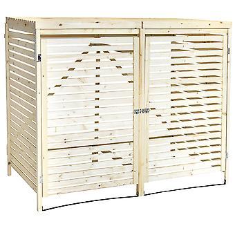 Charles Bentley dubbele houten bin Store Wheelie bin opslageenheid Lifting deksel