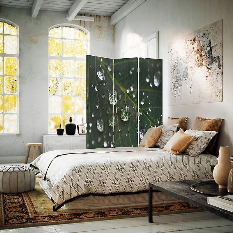 Diviseur de chambre, 3 panneaux, unilatéral, toile, gouttes de pluie sur une feuille