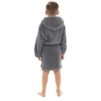 Meninos capuz shaggy fleece vestir vestido de banho de banho