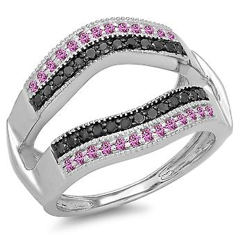 Dazzlingrock Collection 10K Saphir rose rond et Black Diamond Double Row Wedding Millgrain Guard Band, White Gold