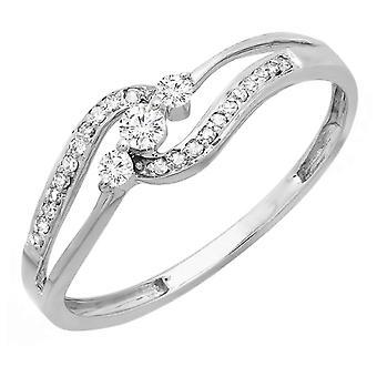 Dazzlingrock Collection 0.20 Carat (ctw) 10k Round Diamond Ladies 3 stone Engagement Bridal Promise Ring 1/5 CT, White Gold