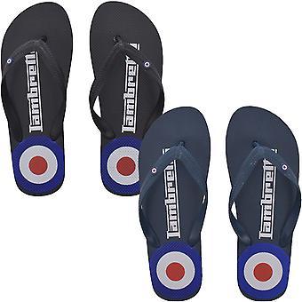 Lambretta Mens Target Logo Casual Summer Holiday Beach Sandals Flip Flops