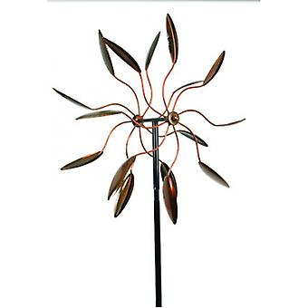 Antik Kupfer Finish Metall Kunst Dual Wind Spinner Garden Stake
