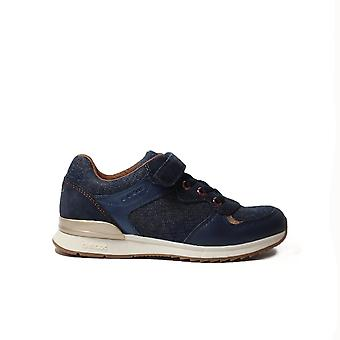 Geox Maisie J6403E Denim Blue Girls Rip Tape/Bungee Lace Casual Trainers