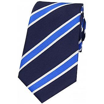 David van hagen stripete silke tie-Navy/hvit/blå