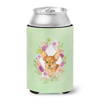 Carolines Treasures  CK4350CC Toy Terrier Green Flowers Can or Bottle Hugger
