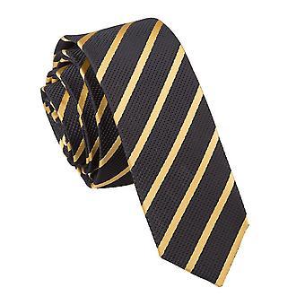Schwarz & Gold einzigen Streifen schmaler Krawatte