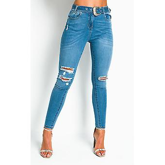 IKRUSH Womens Sally Distressed Western Buckle Jeans