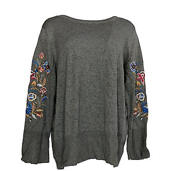 Belle by Kim Gravel Women's Sweater Embroider Floral Bell Slv Gray A343351