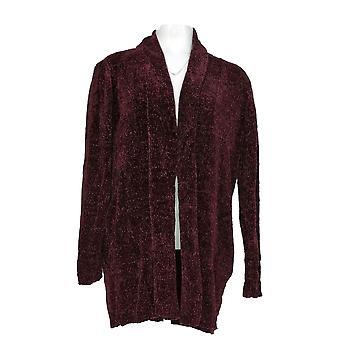 Anybody Women's Sweater Chenille Relaxed Blazer Cardigan Purple A310158