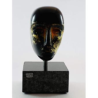 KostaBoda Brains-Black with gold Bertil Vallien-New from the glass prince